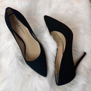 Neiman Marcus black suede heels size 8